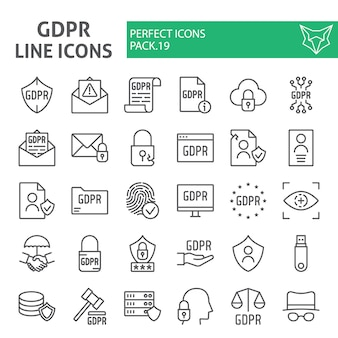 Gdpr line icon set, general data protection regulation collection