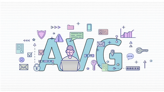 Gdpr in netherlands. algemene verordening gegevensbescherming. computer user among internet and media symbols with big avg letters behind. gdpr, avg, dsgvo.   illustration. horizontal.