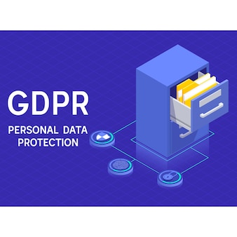 GDPR。個人データ保護とプライバシーの概念。ドキュメントとファイルを含むキャビネット