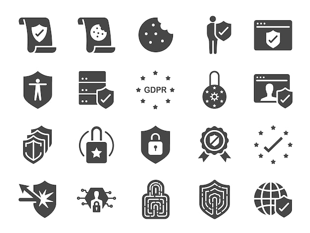 Gdpr privacy policy icon set.