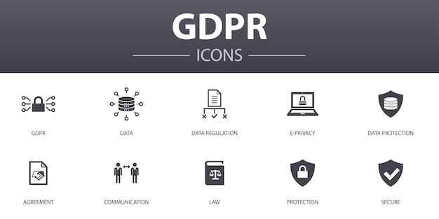 Gdprのシンプルなコンセプトアイコンを設定します。データ、e-プライバシー、合意、保護などのアイコンが含まれており、web、ロゴ、ui / uxに使用できます