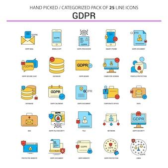 Набор иконок для плоских линий gdpr