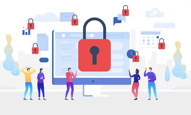 Gdpr. общее положение о защите данных. доступ закрыт. иллюстрация