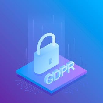 Gdpr一般データ保護規則、流行。モダンなイラスト