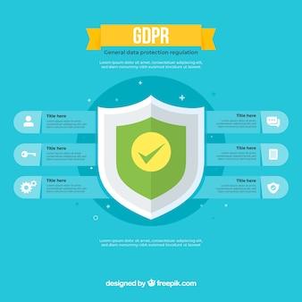 Новая инфографика gdpr с плоским дизайном