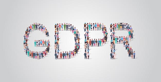 Gdprの単語の形で集まる人々の群衆