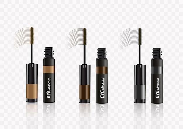 Gealistic vector 3 color  mascara bottle brush and mascara tube black wand and mascara tube