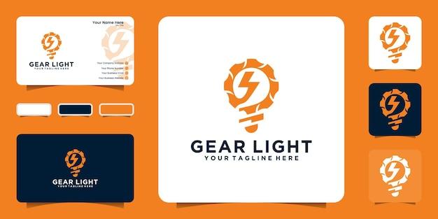 전기 에너지 디자인 로고와 명함이있는 기어 및 전구