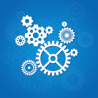 Gear background isolated on a blue flat design