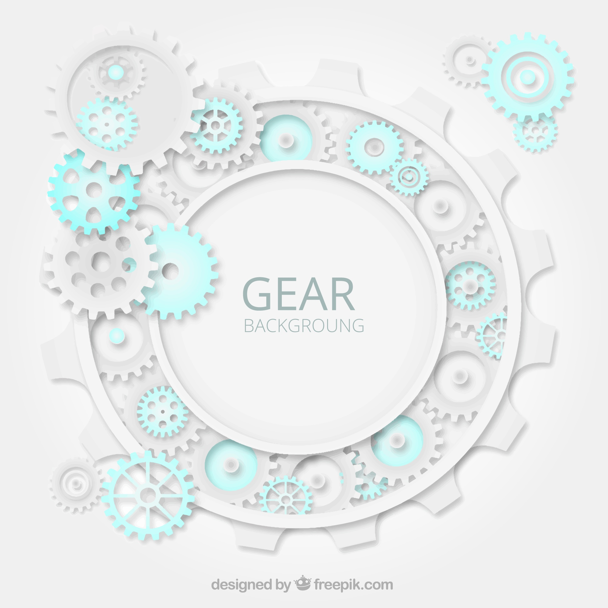Gear background with blue details