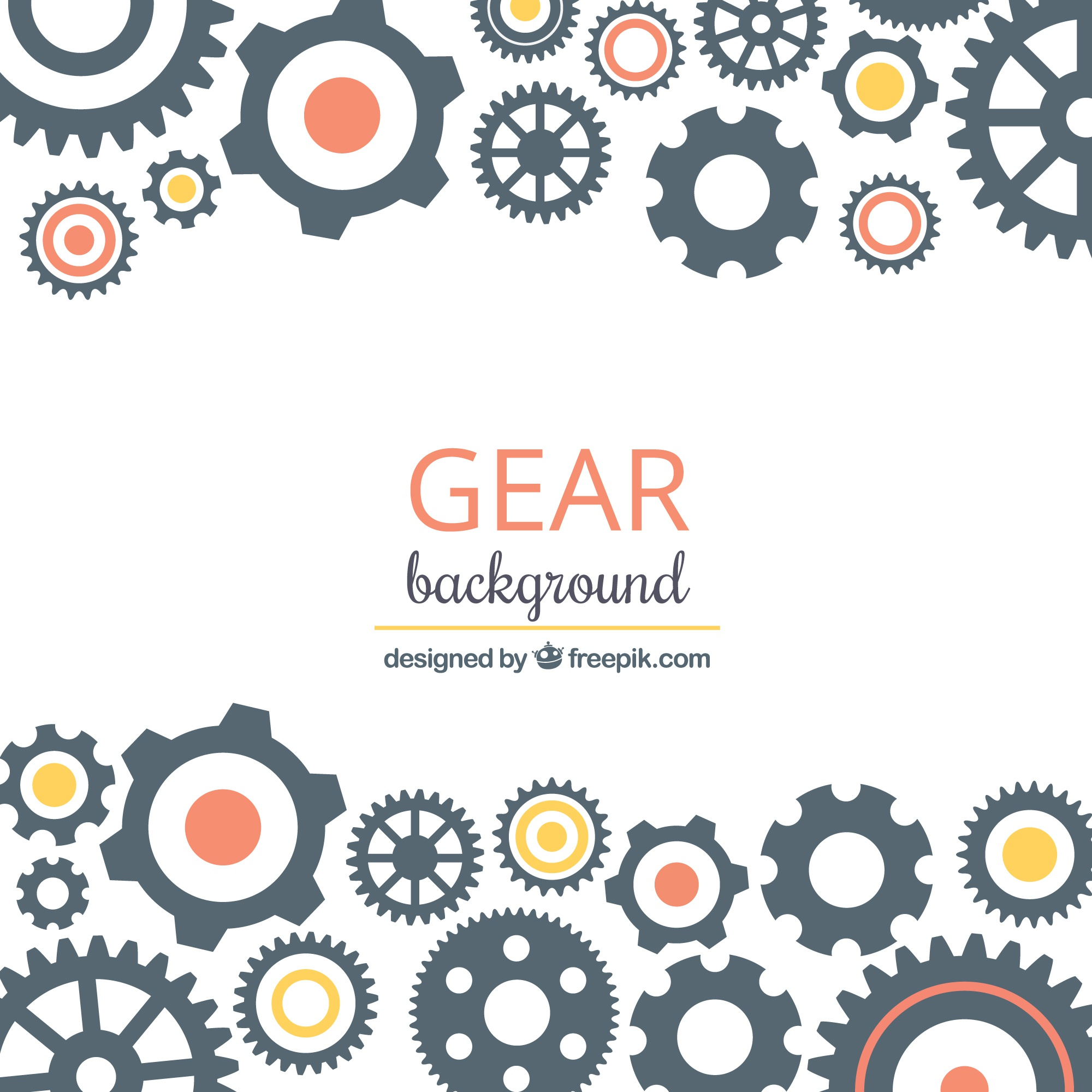 Gear background with circles of different colors