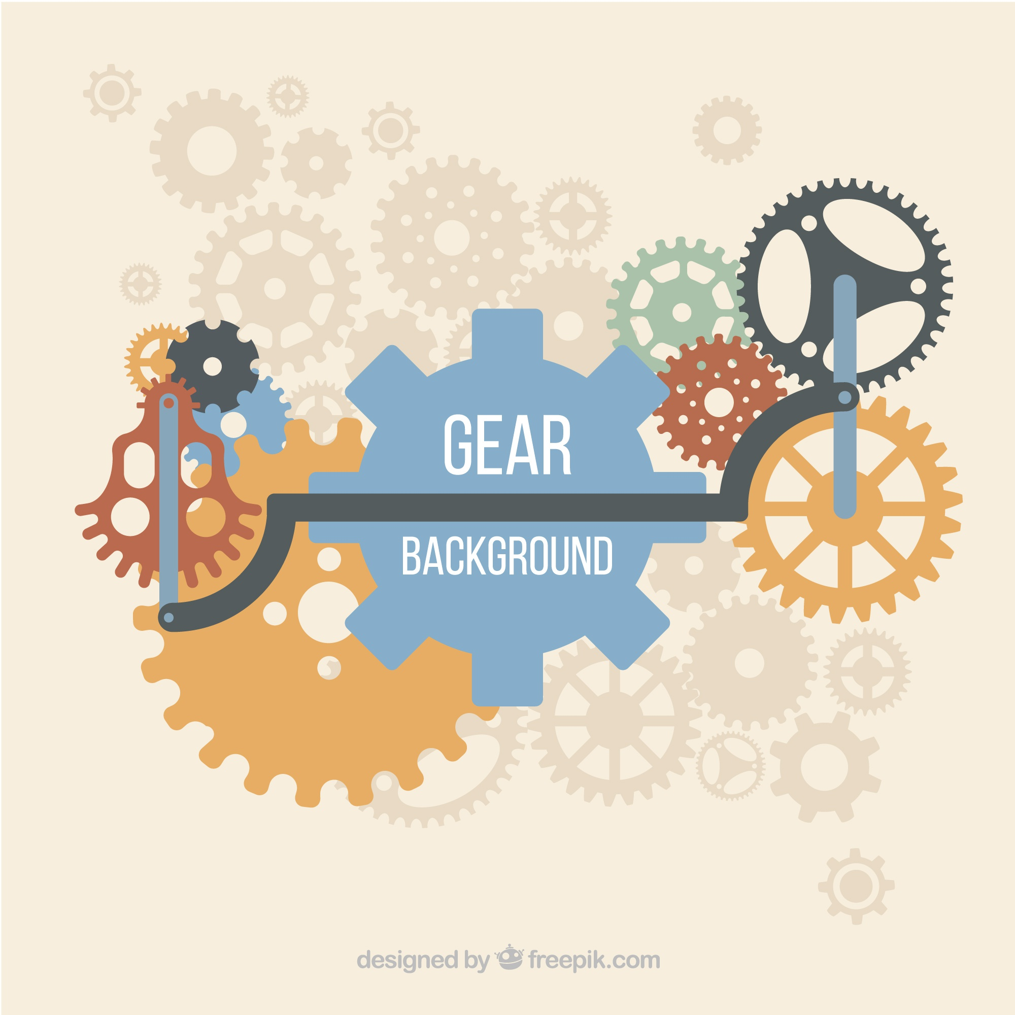 Gear background with pieces in different colors