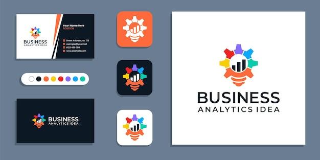 기어, 전구, 분석 기호입니다. 크리에이 티브 비즈니스 전략 로고 및 명함 디자인 서식 파일