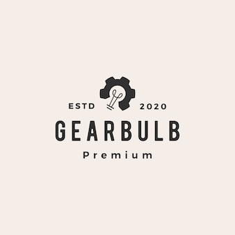 Gear bulb hipster vintage logo  icon illustration