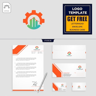 Gear, and business chart logo template and stationery design