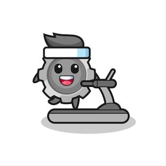 러닝머신 위를 걷는 기어 만화 캐릭터, 티셔츠, 스티커, 로고 요소를 위한 귀여운 스타일 디자인