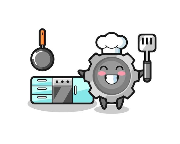 料理をしているシェフとしてのギアキャラクターイラスト、tシャツ、ステッカー、ロゴ要素のキュートなスタイルデザイン