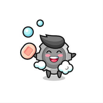 Gear character is bathing while holding soap , cute style design for t shirt, sticker, logo element