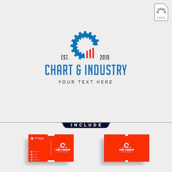 Gear chart logo design industrial accounting vector icon element isolated