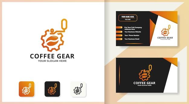 Логотип шестеренки кофе и дизайн визитной карточки