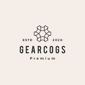 Gear cog cogs hipster vintage logo  icon illustration
