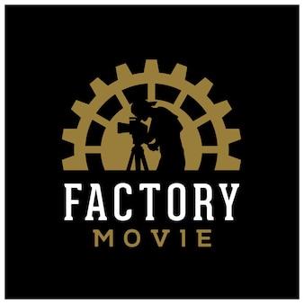 영화 영화 시네마 프로덕션 스튜디오 로고 디자인을 위한 기어 톱니바퀴 공장 카메라맨