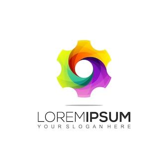 Шаблон цветного логотипа gear