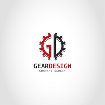 Gear design is a letter gd logo with gear style.