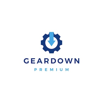 Gear down arrow logo