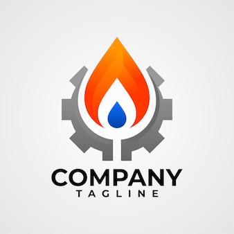 石油・ガス会社に適したギアの火と水のロゴ