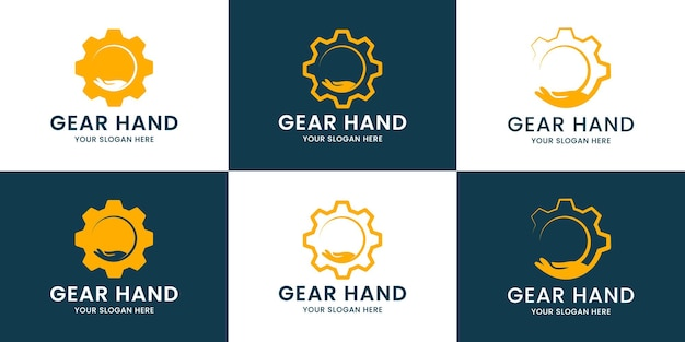 Набор логотипов gear hand inspiration