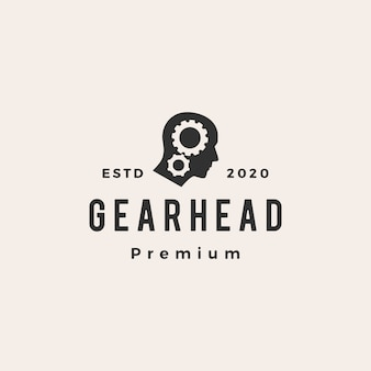 Gear head hipster vintage logo  icon illustration Premium Vector