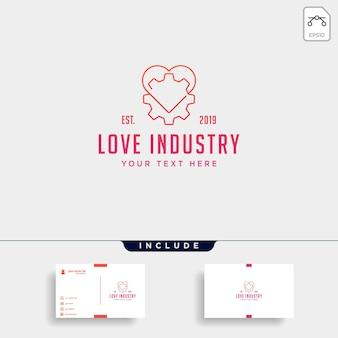 Gear heart logo line health industry vector icon design isolated