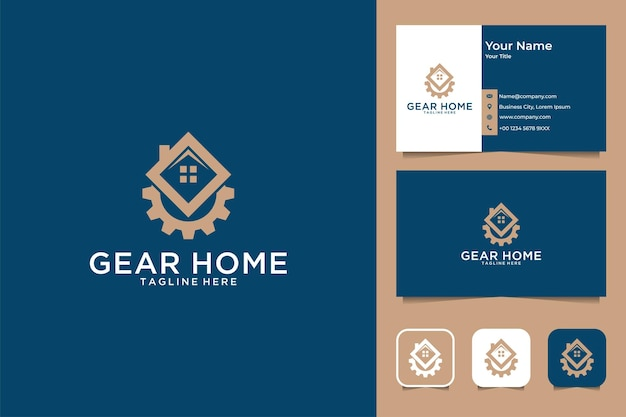 Gear home logo design and business card Premium Vector