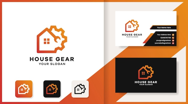 Gear house tool combine logo and business card design