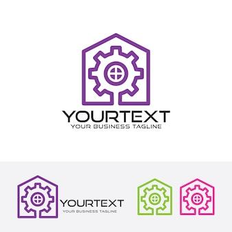 Gear house vector logo template
