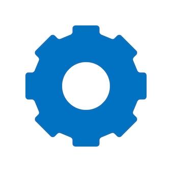 기어 아이콘입니다. 심플한 평면 디자인. 파란색 픽토그램입니다. 흰색 배경에 고립 된 평면 벡터 개념 그림