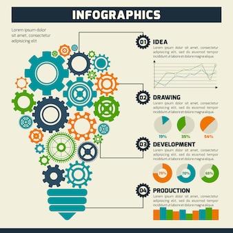 Gear lightbulb инфографика