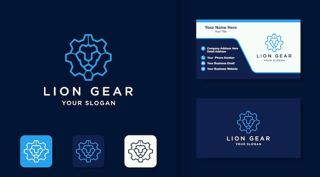 Gear lion logo with line style and business card design