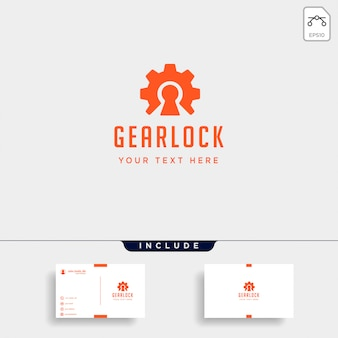 Gear lock logo design protect industry vector icon isolated