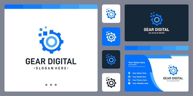 ギアのロゴとデジタルフォームのロゴ。名刺デザインテンプレート。