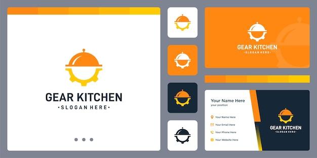 기어 로고와 접시 홀더 모양. 명함 디자인입니다.