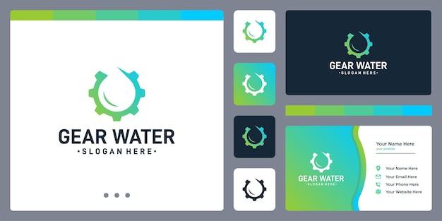 기어 로고와 물 또는 기름 로고를 형성합니다. 명함 디자인 템플릿입니다.