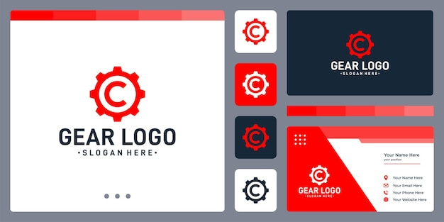 기어 로고와 이니셜 문자 c 로고. 명함 디자인 템플릿입니다.