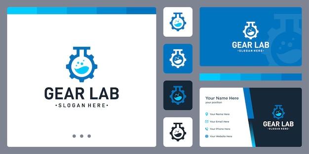 기어 로고와 실험실 병 모양. 명함 디자인입니다.