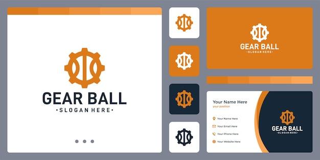 Gear logo and ball shape logo. business card design.