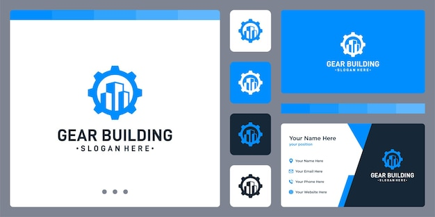 Gear logo and the shape of the building. business card design.