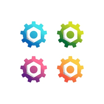 Gear machine logo set