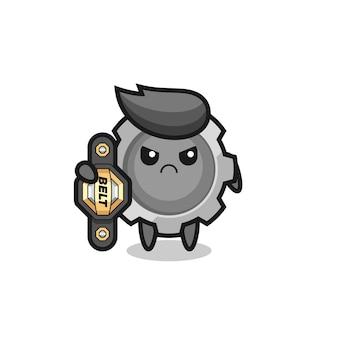 챔피언 벨트가 있는 mma 전투기로서의 기어 마스코트 캐릭터, 티셔츠, 스티커, 로고 요소를 위한 귀여운 스타일 디자인