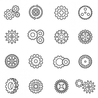 Gear mechanism icon set. thin line style stock vector.